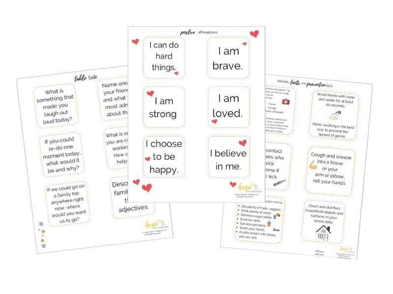 Free Printables Affirmations, Table talk for parents and kids and corona virus facts and tips