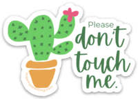 Don't touch me cactus sticker