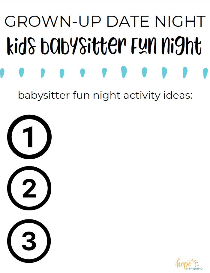 Babysitter fun list